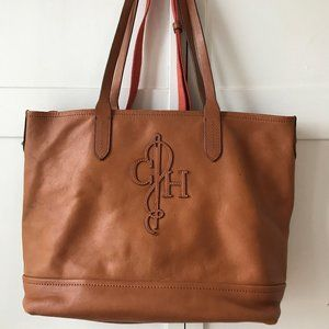 COLE HAAN 2-PIECE LEATHER AND VINYL TOTE BAG